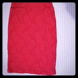 Anthropologie Maeve Red Lace Pencil Skirt
